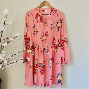 Old Navy Pink Floral Midi Dress Size L